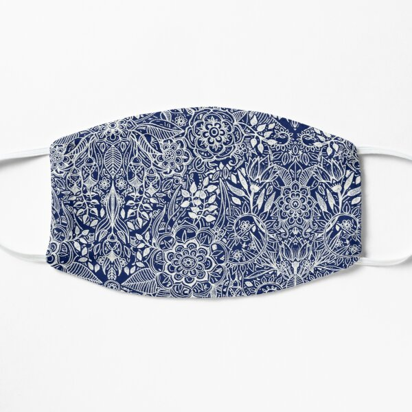 Detailed Floral Pattern in White on Navy Mask