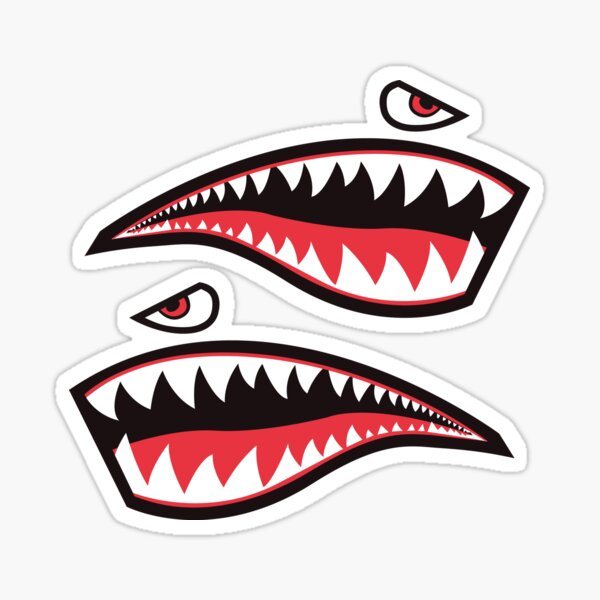 Sharks Teeth Sticker - WWII Fighter Plane Style - Nose Art Sticker