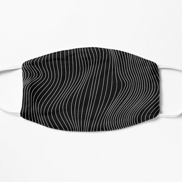 Black and White Illusion Waves Pattern 2 Flat Mask