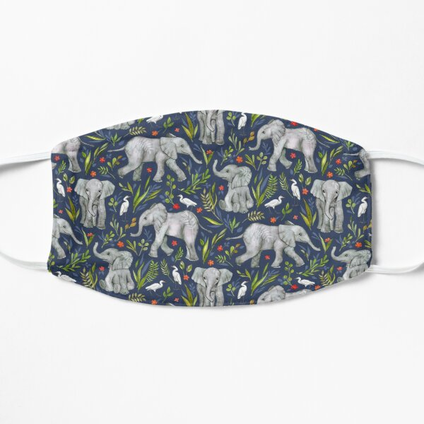 Baby Elephants and Egrets in Watercolor - navy blue Flat Mask