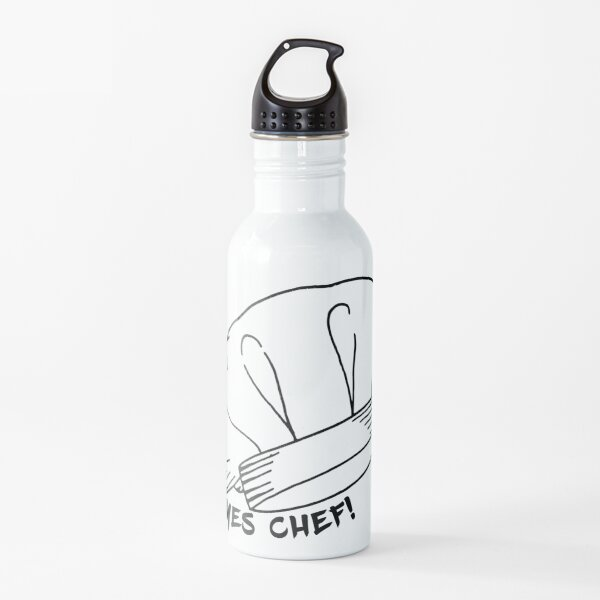White Chef Hat Toque Blanche Yes Chef Quote Water Bottle