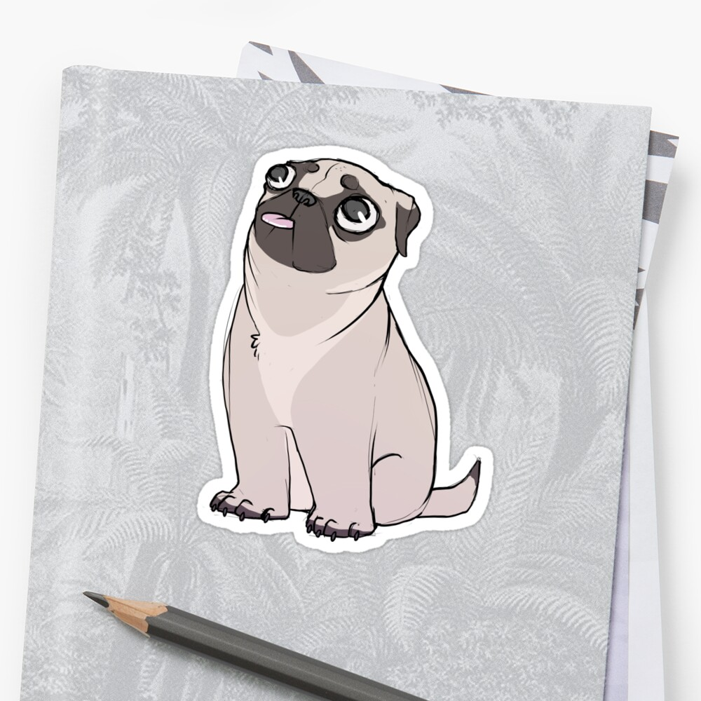 Apricot Pug Pup Stickers By Suzanne Annaars Redbubble
