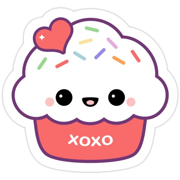 Quot Cute Love Cupcake Quot Stickers By Sugarhai Redbubble