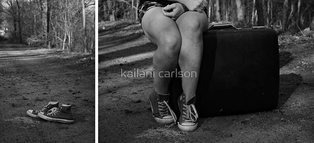 "Self Portrait- Diptych ""I'm Leaving Home!"" by kailani carlson"
