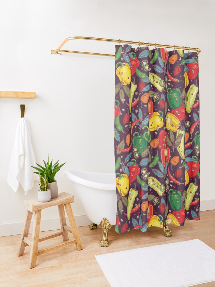 Alternate view of Hot & spicy! Shower Curtain