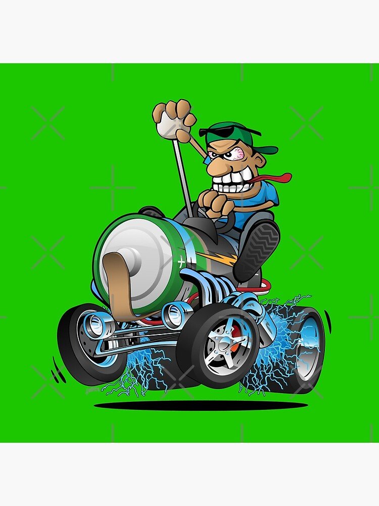 Hot Rod Electric Car Cartoon by hobrath