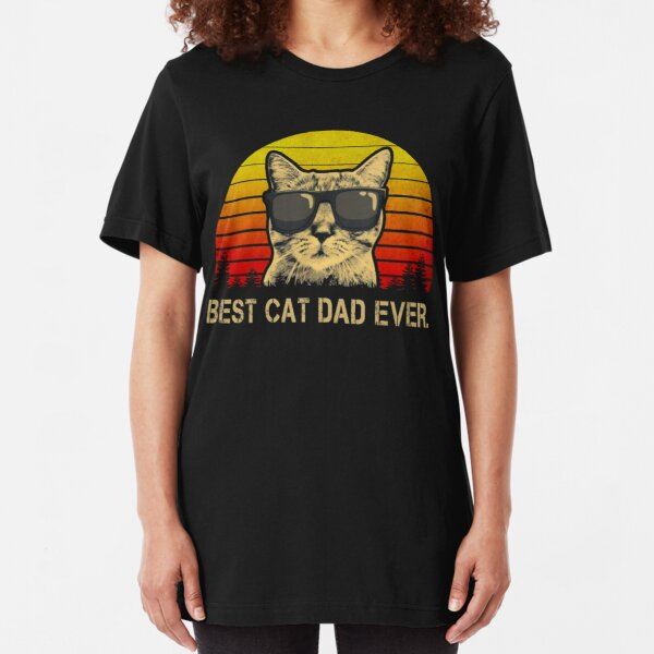 Vintage Best Cat Dad Ever T-Shirt Cat Daddy Father Slim Fit T-Shirt