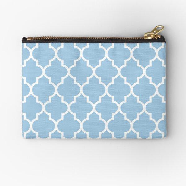 Moroccan quatrefoil, light blue and white  Zipper Pouch