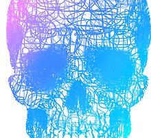 Rainbow Scribble Skull by Keelin  Small