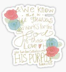 Romans 8:28 - color Sticker