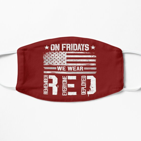 On Fridays We Wear Red Friday Remember Everyone Deployed American Flag Vintage  Mask