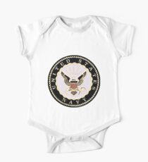 Black and White Embossed Navy Crest Kids Clothes