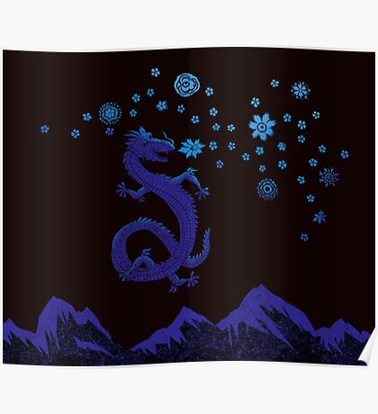 Northern Lights Dragon Poster
