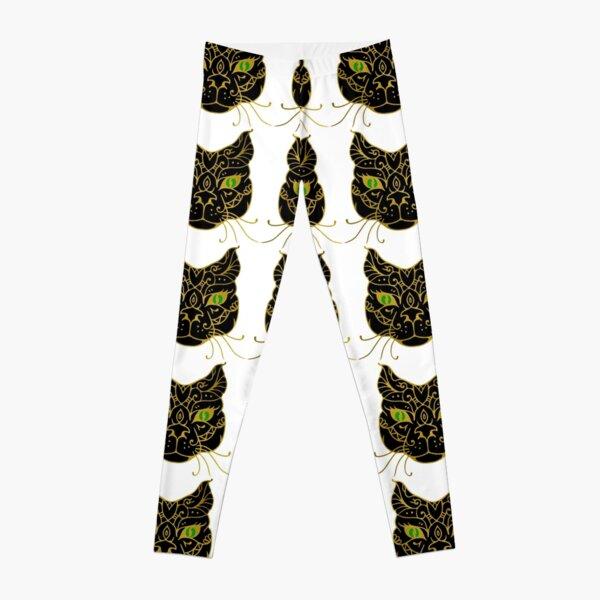 Golden Black Cat With Green Eyes Leggings