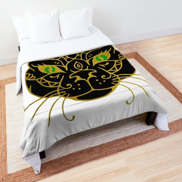 Golden Black Cat With Green Eyes Comforter