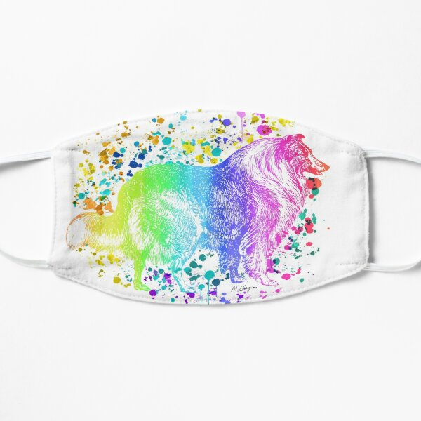 The Rough Collie, Long-Haired Collie Watercolor Rainbow, Dog lovers, Dog mom, Dog dad Mask