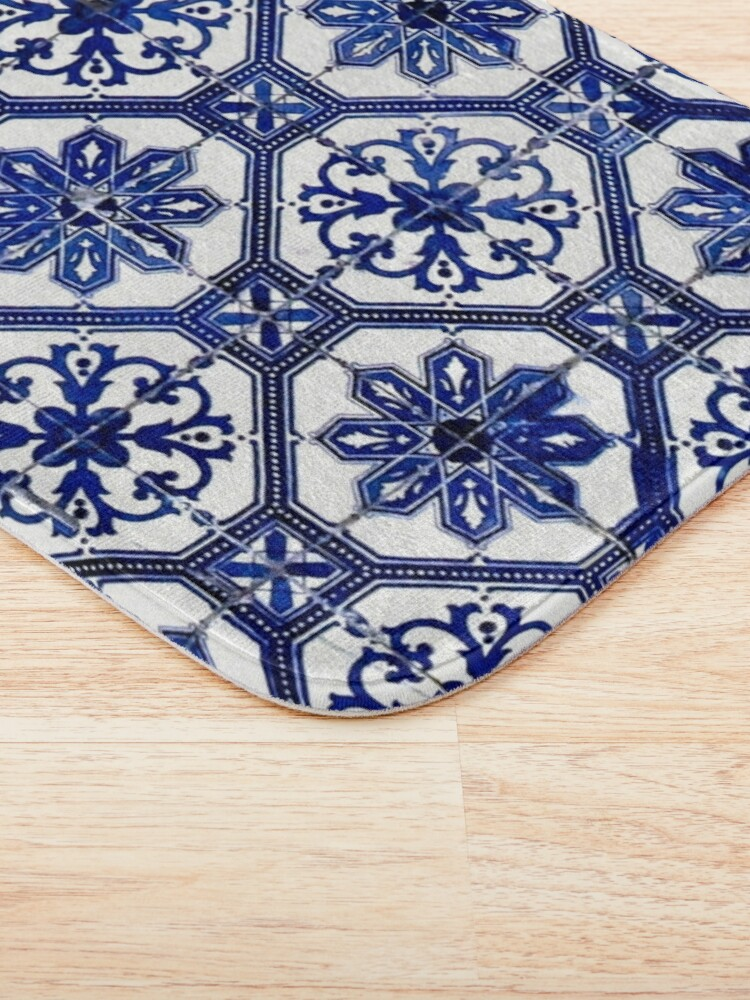 Alternate view of Blue and White Portuguese Tile  Bath Mat