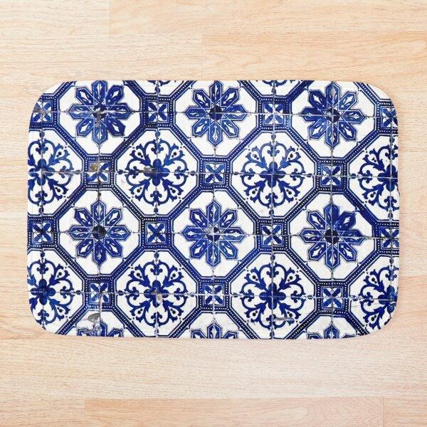 Blue and White Portuguese Tile  Bath Mat