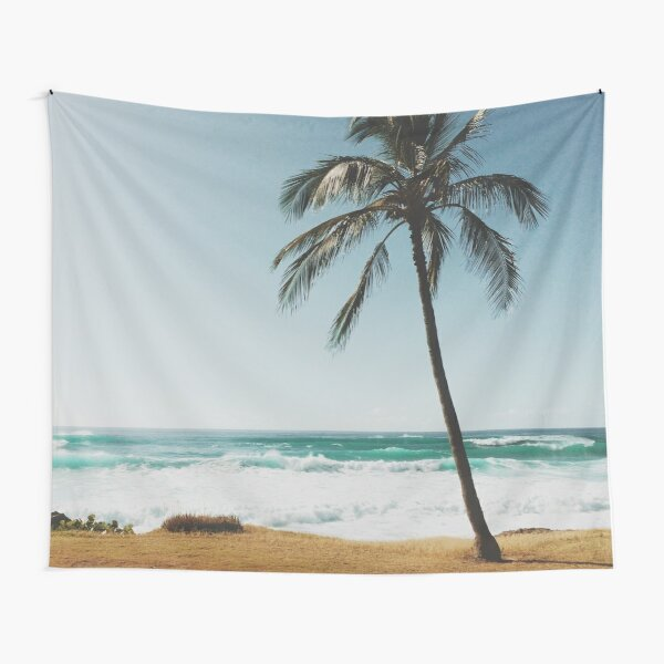 Palm Tree By The Beach  Tapestry