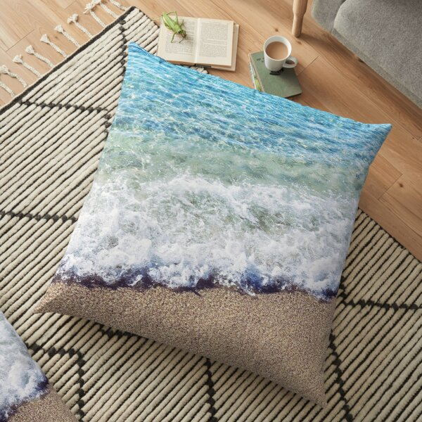 Ocean Blue Shore Waves Floor Pillow