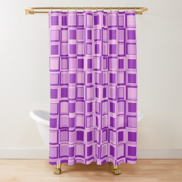 Purple 70's year styling squares Shower Curtain