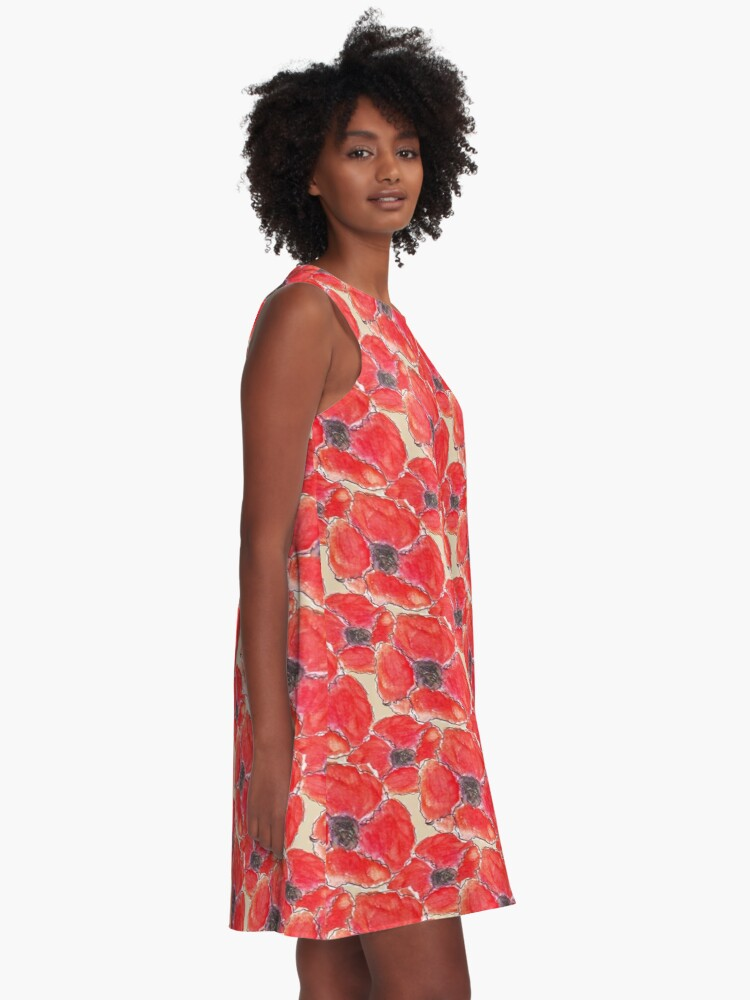 Alternate view of Watercolour Poppies (Hand Painted Design) A-Line Dress