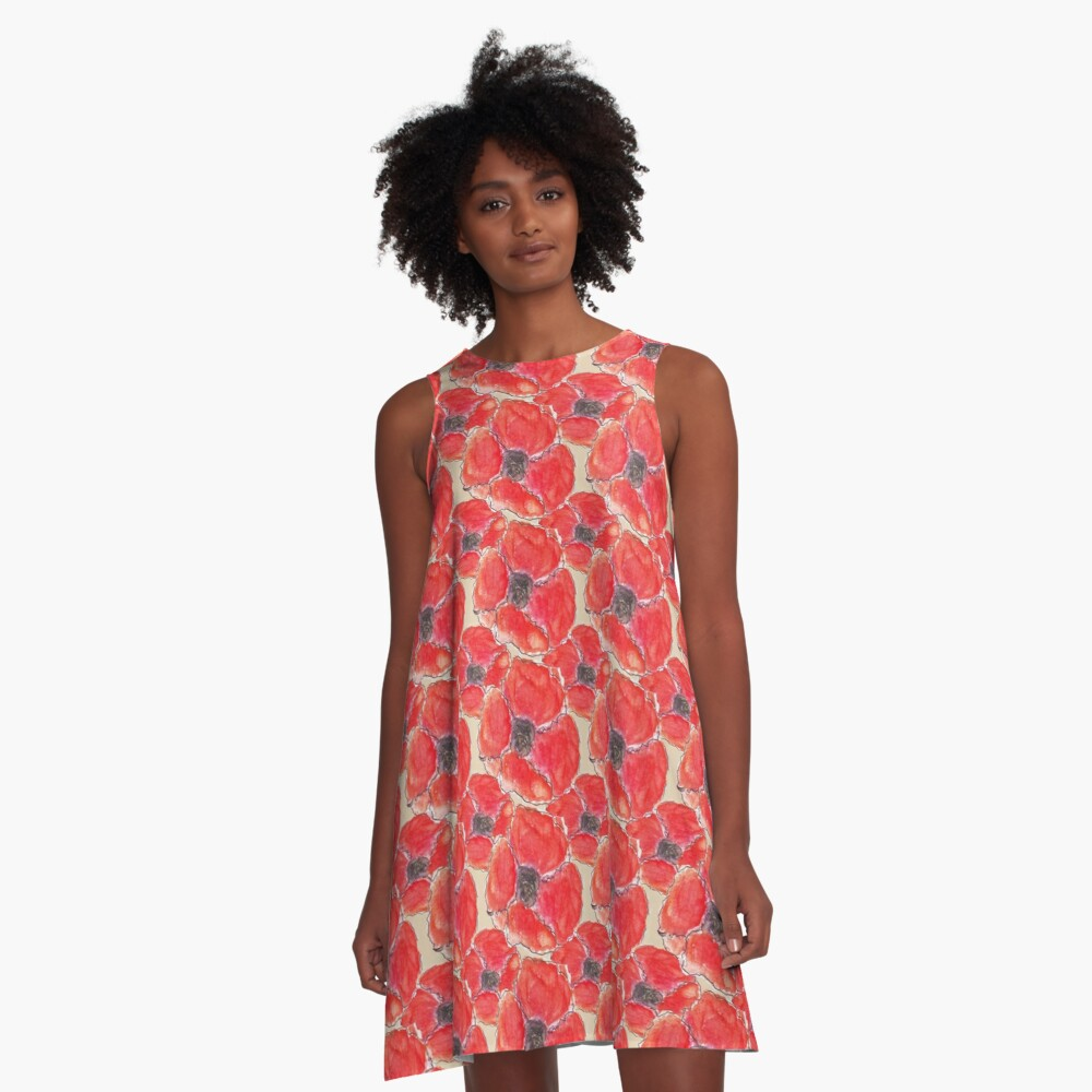 Watercolour Poppies (Hand Painted Design) A-Line Dress