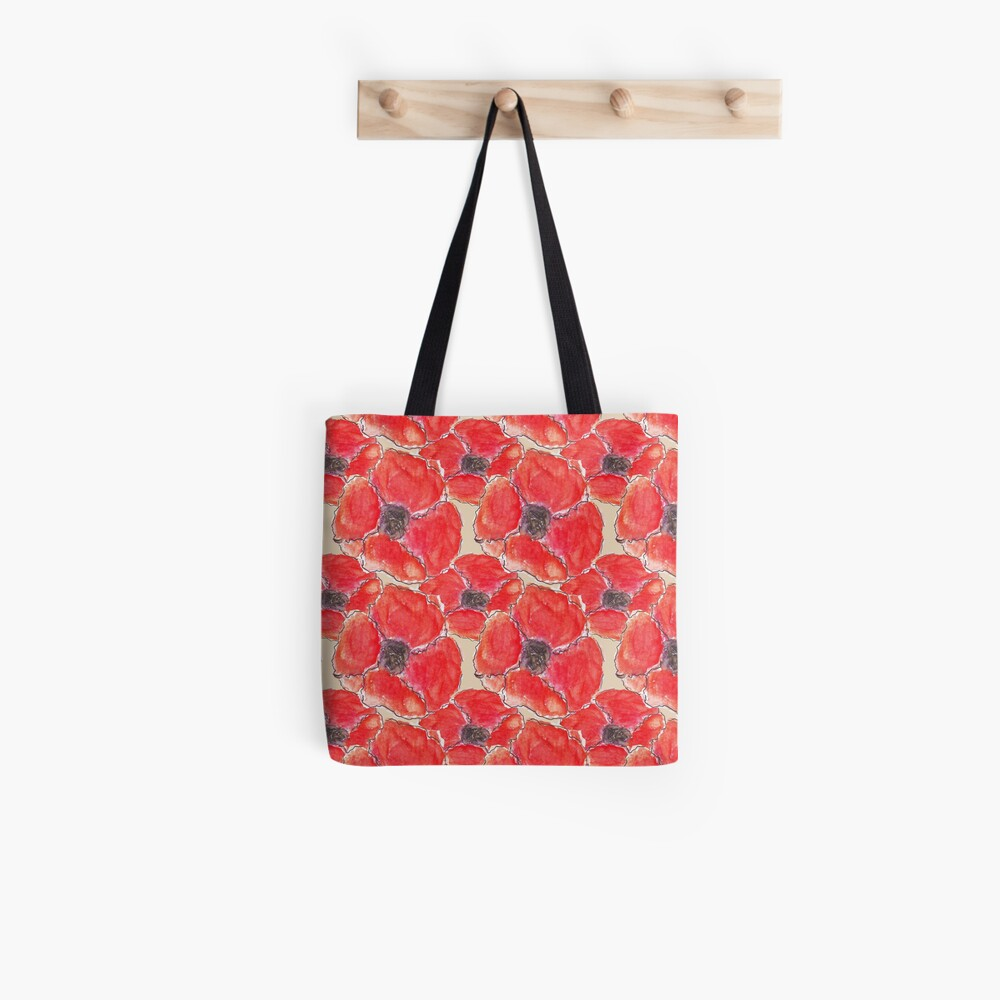 Watercolour Poppies (Hand Painted Design) Tote Bag