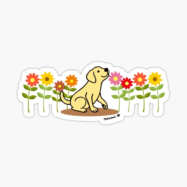 Yellow Labrador Puppy and Flowers Sticker