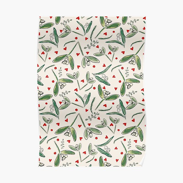 Mistletoe Mischief: Hearts and Berries  Whimsical Christmas/Winter Design Poster