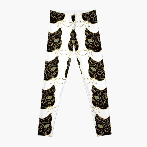 Golden Black Cat With Blue Eyes Leggings