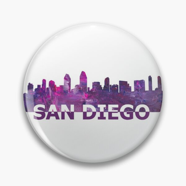 San Diego California Skyline Silhouette Strong with Text Pin