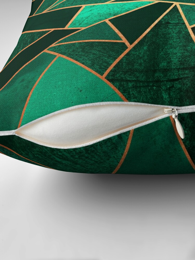 Alternate view of Emerald and Copper Throw Pillow