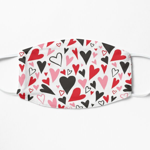 Love Hearts Black Red Pink  Mask