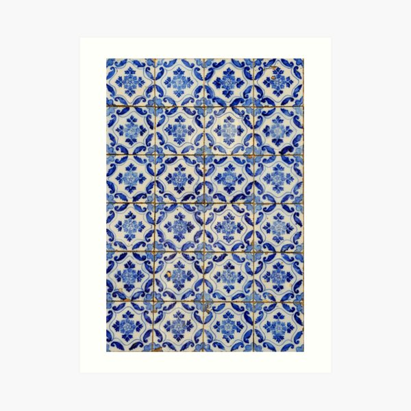 Portuguese tiles. Blue flowers and leaves Art Print