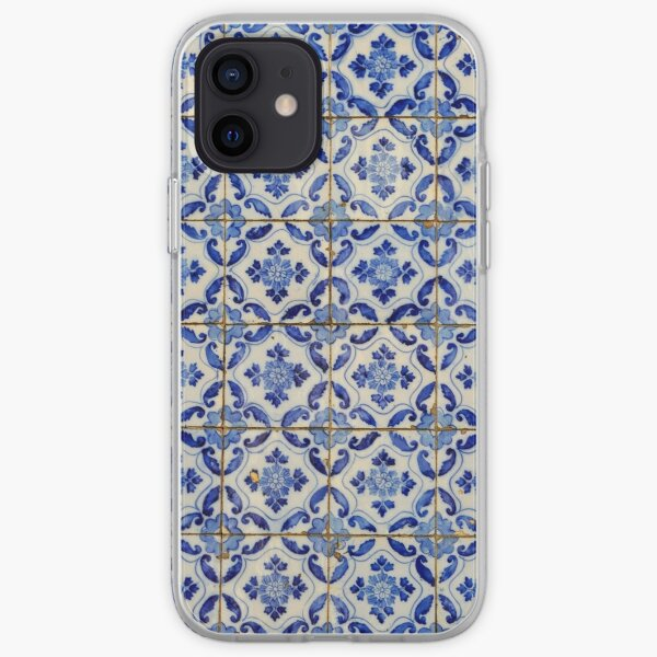 Portuguese tiles. Blue flowers and leaves iPhone Soft Case