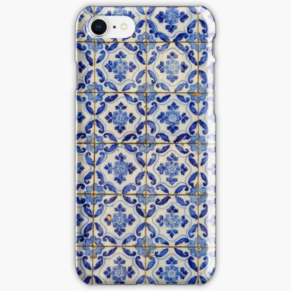Portuguese tiles. Blue flowers and leaves iPhone Snap Case