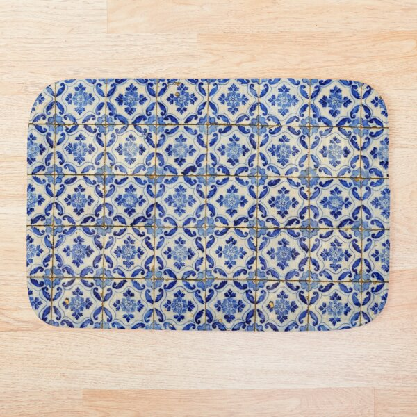 Portuguese tiles. Blue flowers and leaves Bath Mat
