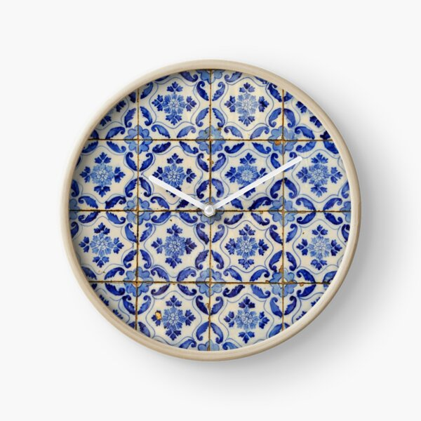 Portuguese tiles. Blue flowers and leaves Clock
