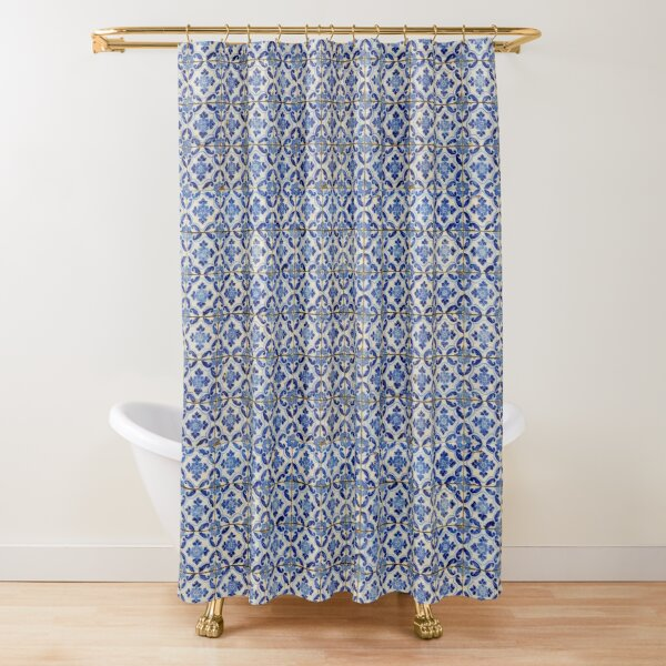 Portuguese tiles. Blue flowers and leaves Shower Curtain