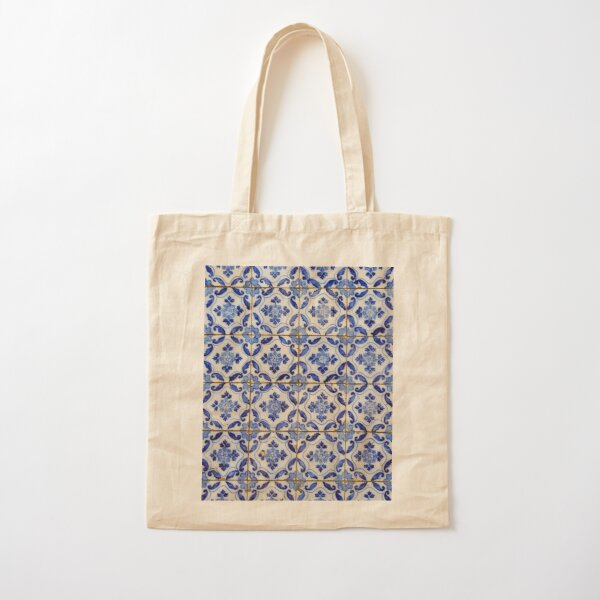 Portuguese tiles. Blue flowers and leaves Cotton Tote Bag