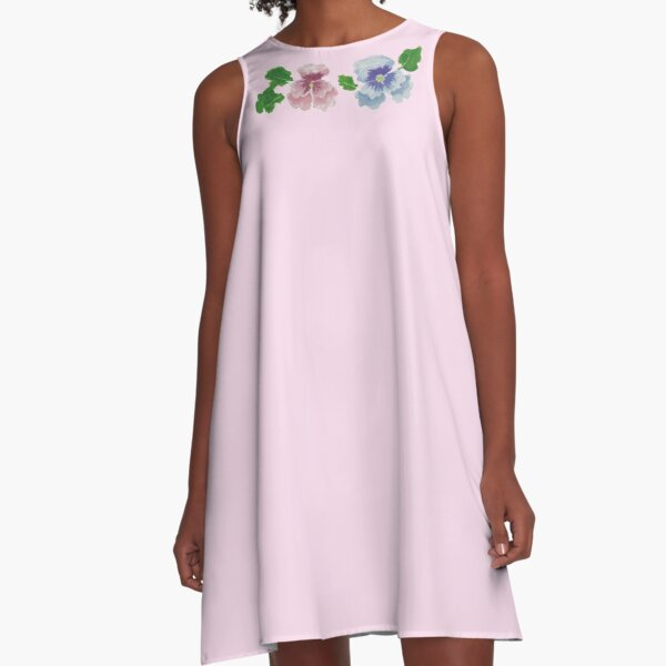 Pink and Blue Watercolor Flowers A-Line Dress