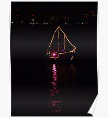 Night light - galeone with a laser show - Luz de la noche - galeone con láser show  Poster