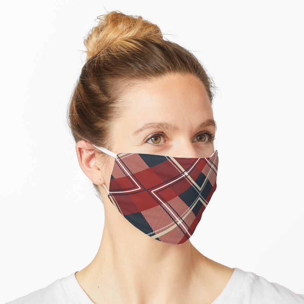 Face Mask Plaid Pattern   Mask