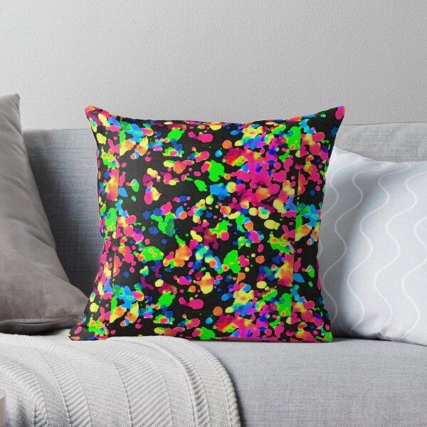 Blacklight Neon Paint Splatter Throw Pillow