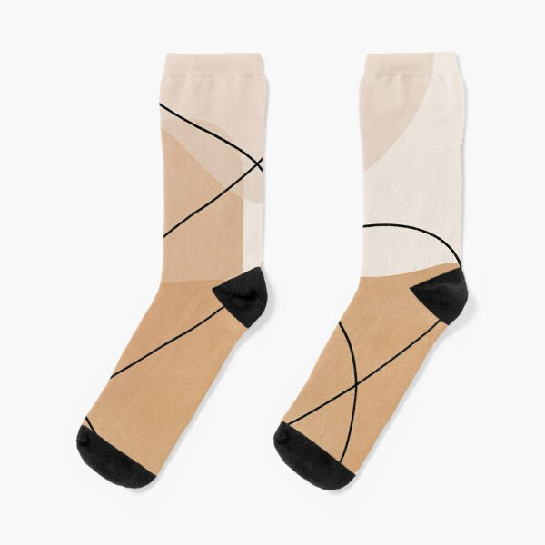 Abstract Mustard Lines and Shapes Socks
