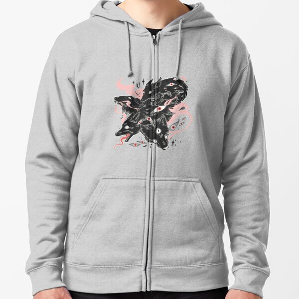 Wild Wolves With Many Eyes Zipped Hoodie