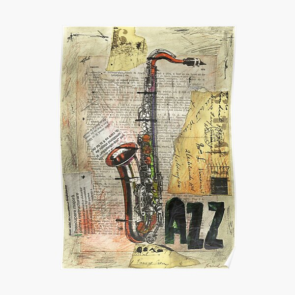 Jazz collage art poster drawing painting saxophone music face mask protection  Poster