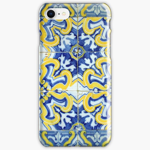 Portuguese azulejos with exploding yellow flowers iPhone Snap Case