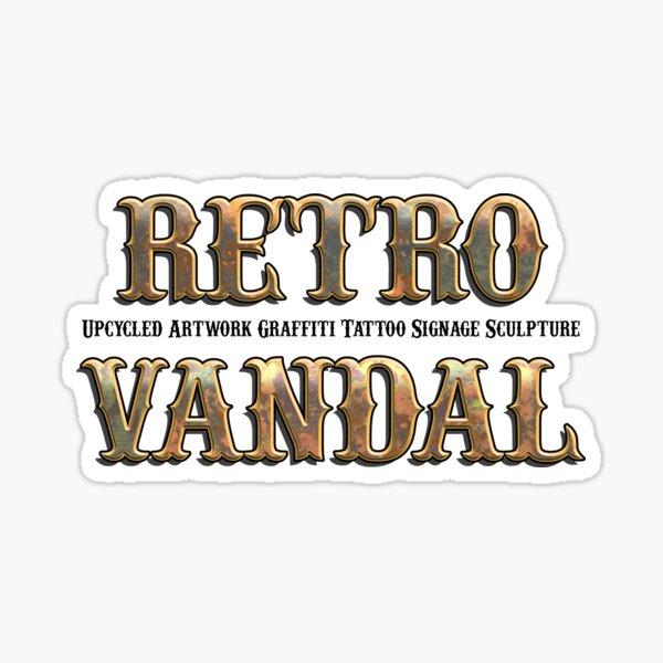Retro Vandal Rusty Metal Logo Sticker